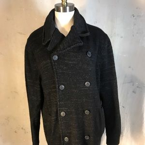 pea coat cardigan banana republic new heather grey